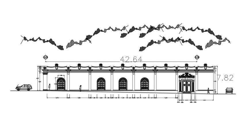 Main elevation drawing details of girl school building dwg file