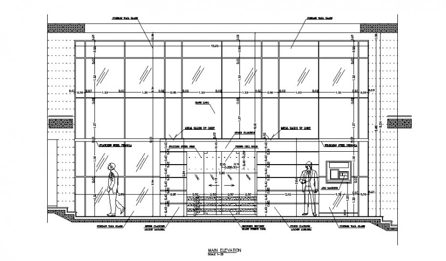 Main elevation drawing details of local office building dwg file