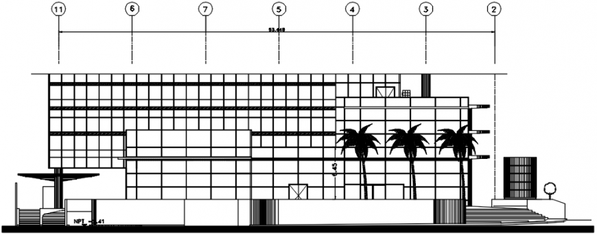 Main elevation drawing details of multi-cousin restaurant dwg file
