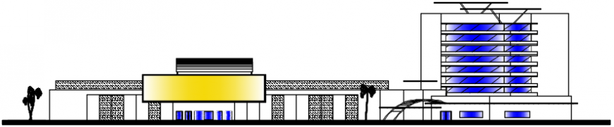 Main elevation drawing details of multi-level hotel with trade center dwg file