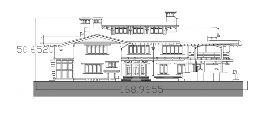 Main elevation of residential gamble house cad drawing details dwg file