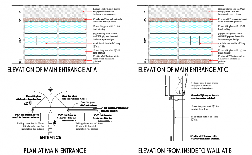 Main entrance door detail drawing in dwg AutoCAD file.