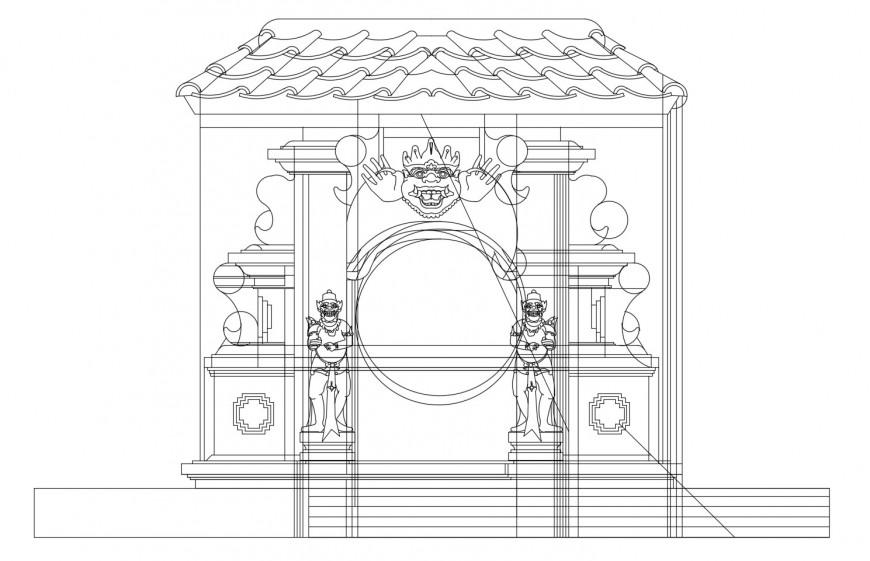 Main entrance gate sectional details of garden dwg file