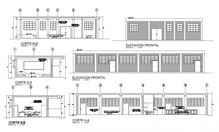 Main front elevation and all sided sectional drawing details of school building dwg file