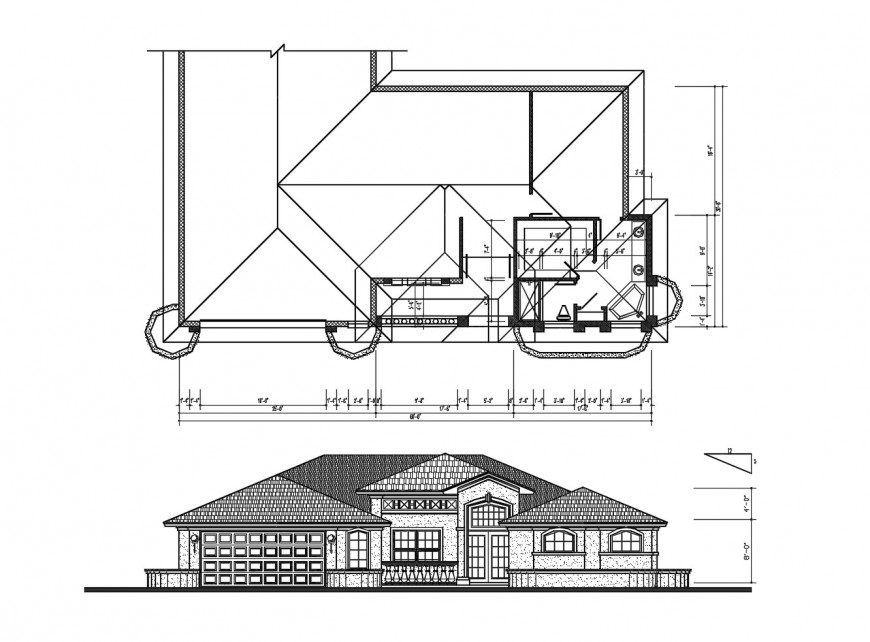 Main front elevation and framing plan structure details of house dwg file