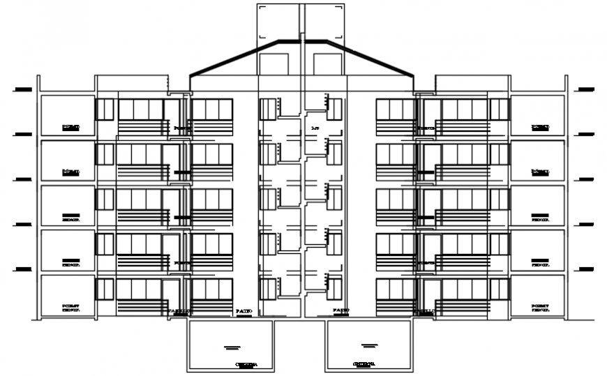 Main front elevation drawing details of apartment flats building dwg file