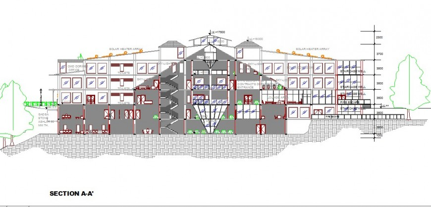 Main front sectional details of multi-story government building dwg file
