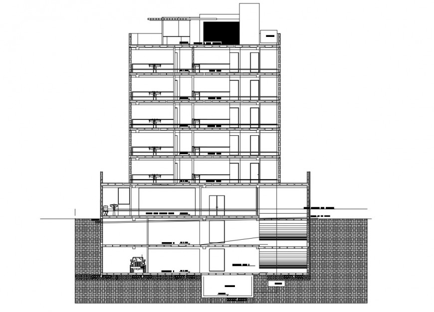 Main front sectional details of multi-story office building dwg file