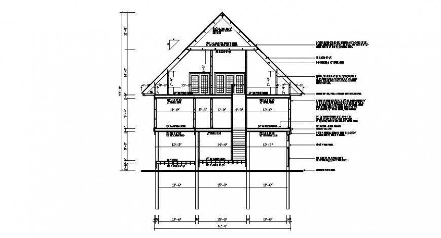 Main frontal constructive sectional drawing details of house dwg file