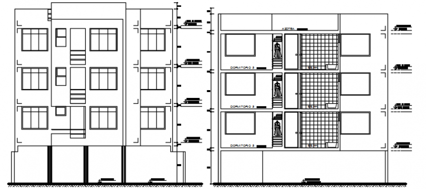 Main frontal elevation and section details of apartment building dwg file