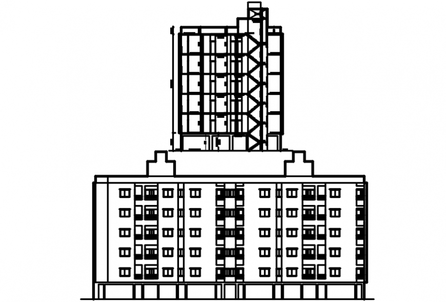 Main frontal elevation and side section drawing details of apartment building dwg file