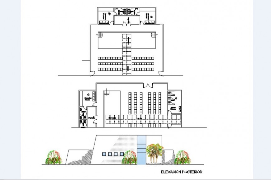 Main frontal elevation and two floor distribution plan cad drawing details dwg file