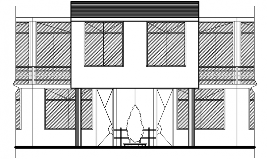 Main frontal elevation details of two story residential house dwg file