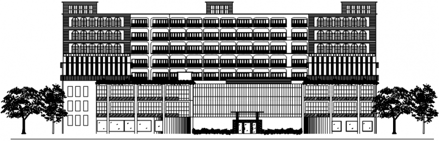 Main frontal elevation drawing details of five star luxuries hotel dwg file