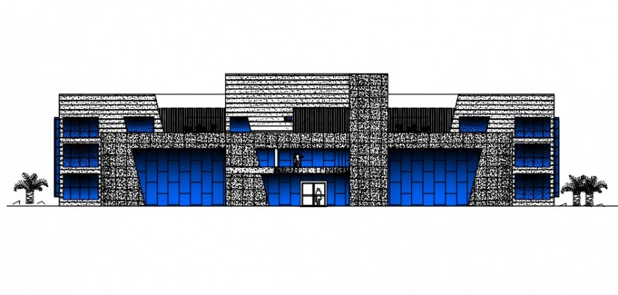Main frontal elevation drawing details of government bank head office dwg file