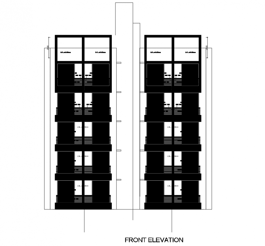 Main frontal elevation drawing details of multi-family apartment building dwg file