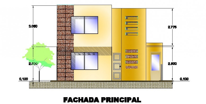Main frontal elevation drawing details of residential 2d house dwg file
