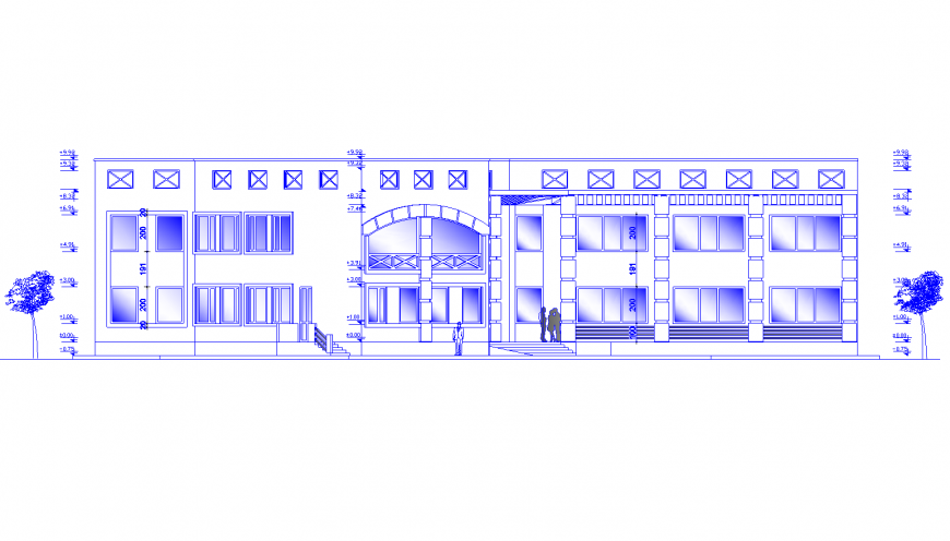 Main frontal elevation drawing details of residential house dwg file