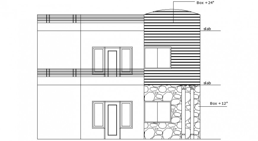 Main frontal elevation of residential house dwg file