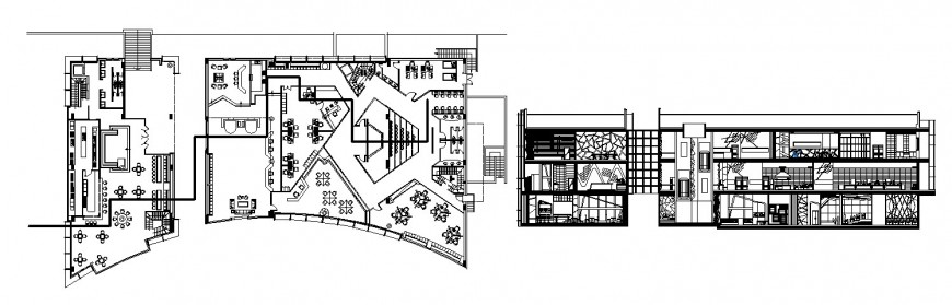 Main frontal section and floor plan distribution drawing details of education academy dwg file