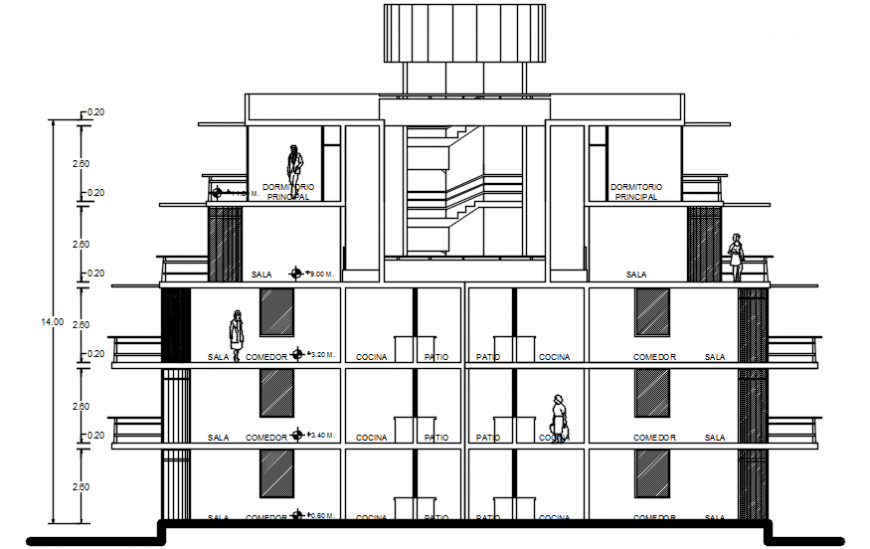 Main frontal section drawing details of residential apartment building dwg file