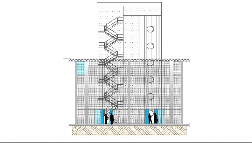 Main frontal sectional drawing details of airport building dwg file