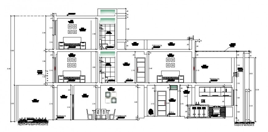 Main frontal sectional drawing details of apartment building dwg file