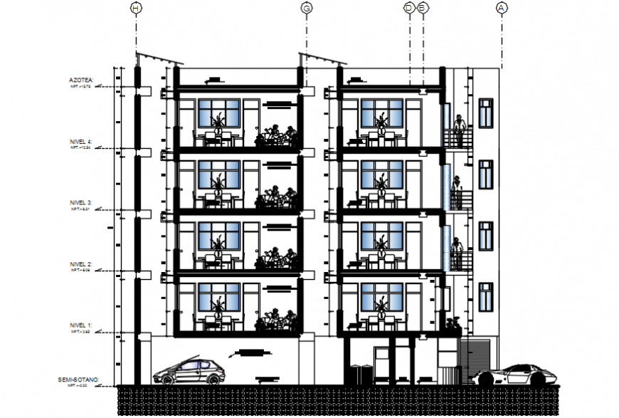 Main frontal sectional drawing details of multi-familiar building dwg file