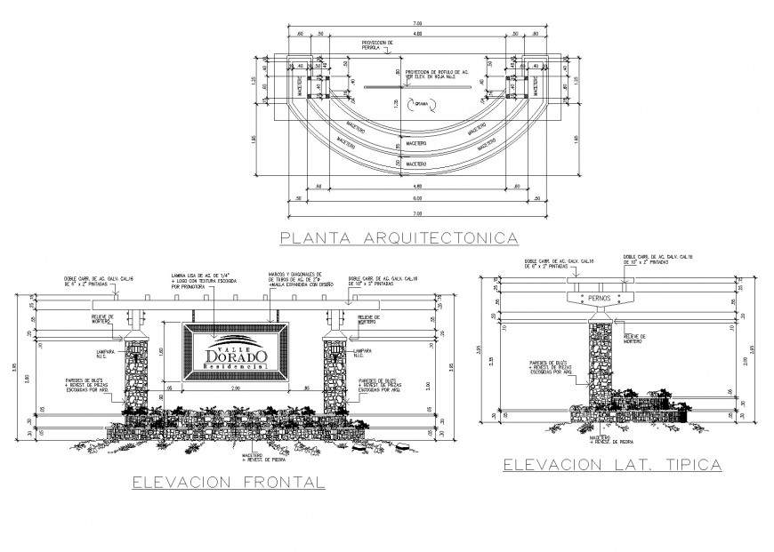Main gate plan and elevation layout file
