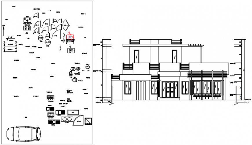 Main house elevation and some household mix blocks drawing details dwg file