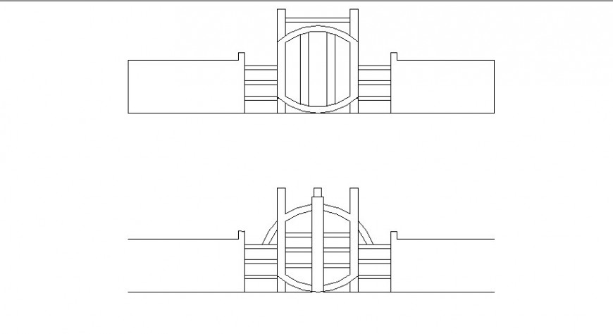 Main house gate elevation cad drawing details dwg file