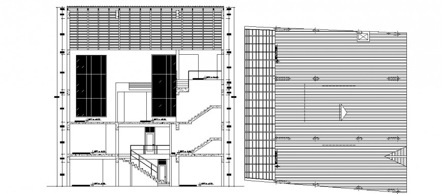 Main section and cover plan drawing details of hostel building dwg file