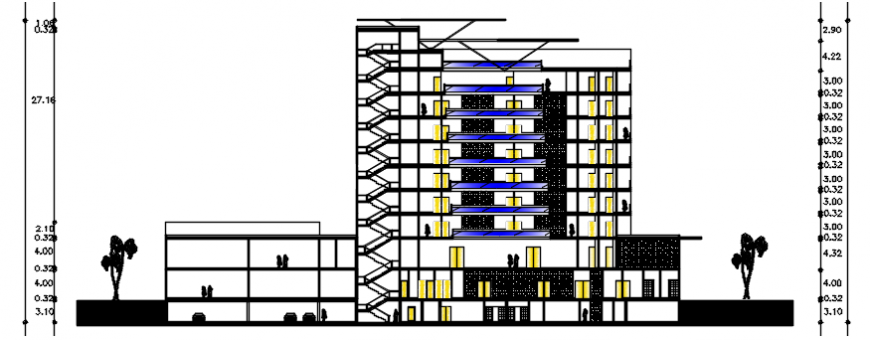 Main Section drawing details of multi-level hotel with trade center dwg file