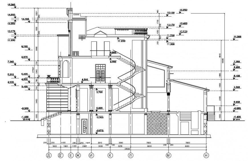 Main section drawing details of three story villa dwg file