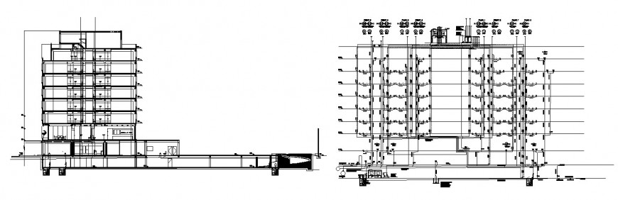 Main section with electrical diagram details of multi-story hotel building dwg file