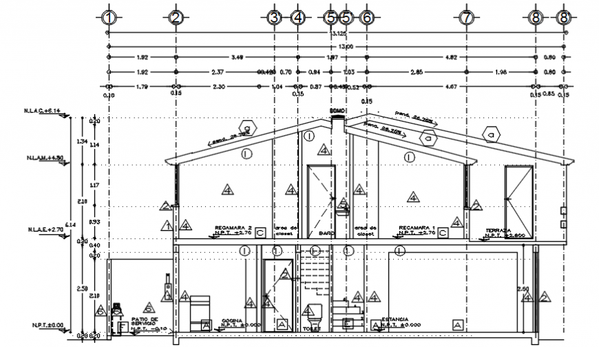 Main sectional drawing details of duplex house dwg file