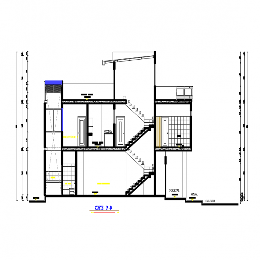 Main sectional view of apartment housing building dwg file