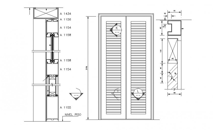 Main wooden door elevation and installation cad drawing details dwg file