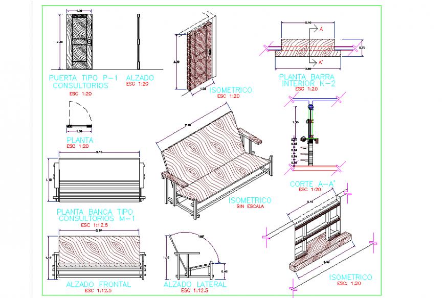 Making Sofa detail Plan & Elevation & Section Design