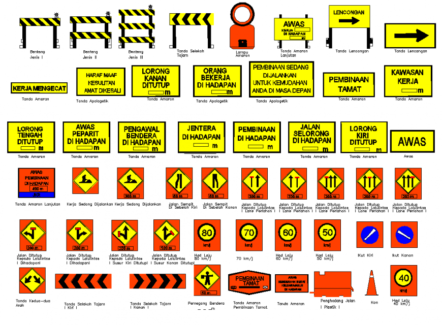 Malaysia road signs detail elevation 2d view layout autocad file