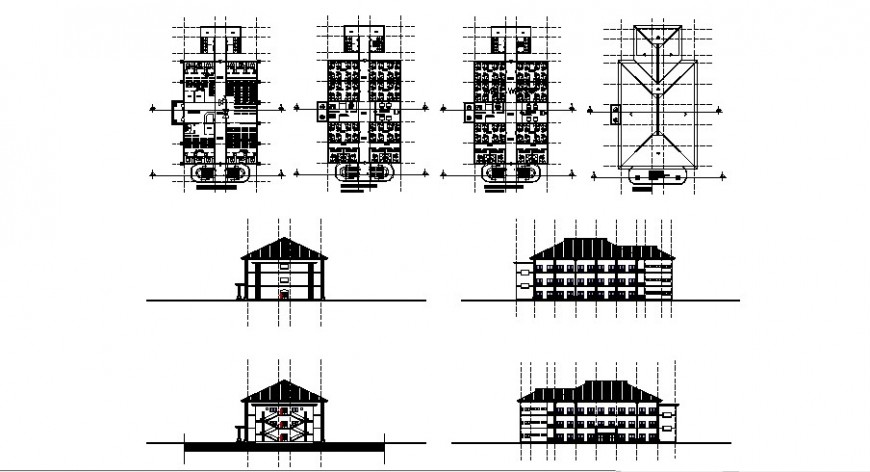 Male and female hospital ward plan and elevation in auto cad