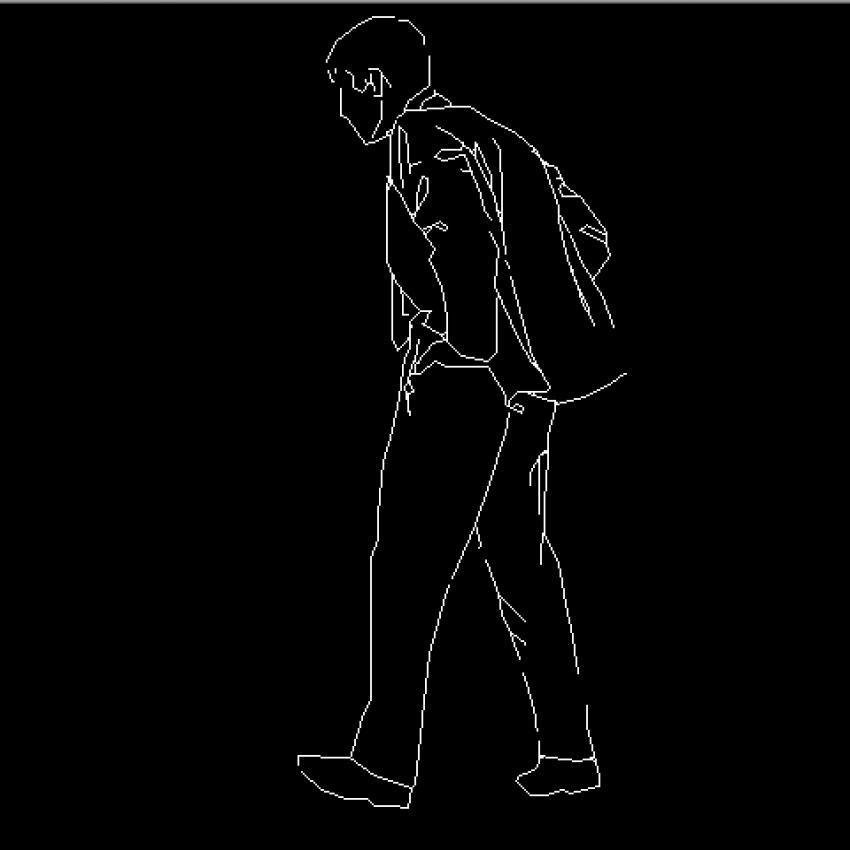 Man's back view cad block design dwg file