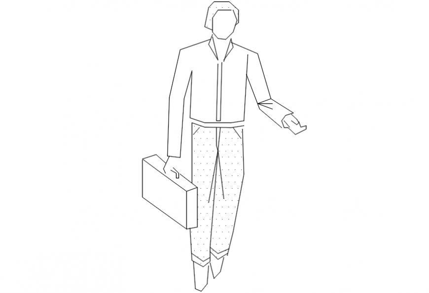 Man holding suitcase 2d