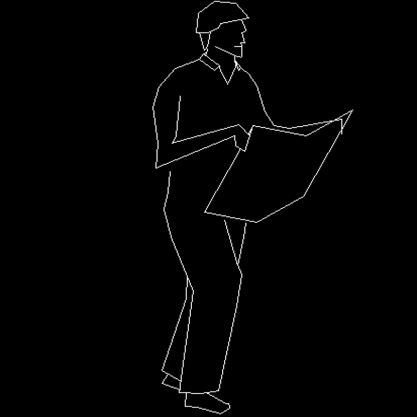 Man reading news paper cad block design dwg file