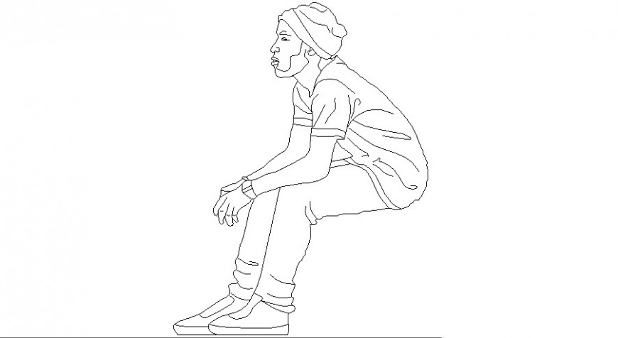 Man sitting looking at the side people block in auto cad file
