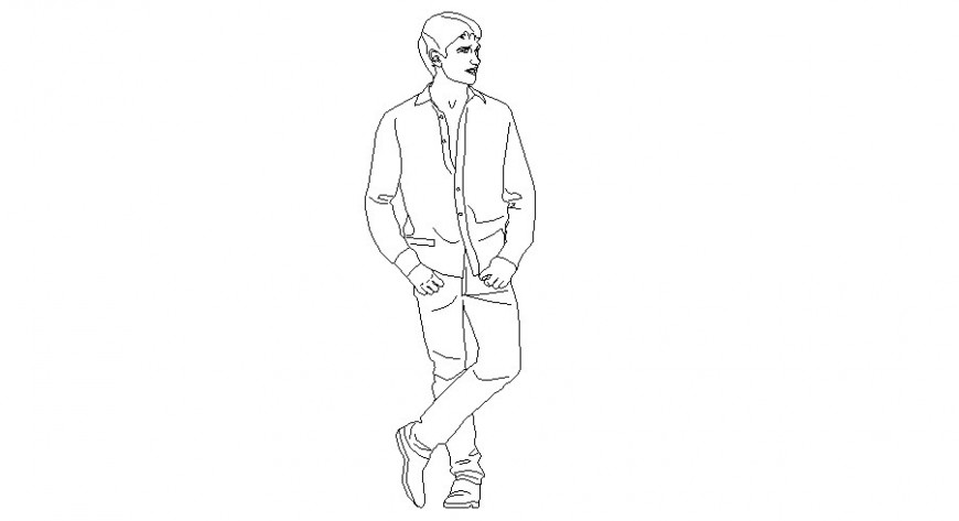 Man standing posing vector persons cad block details dwg file