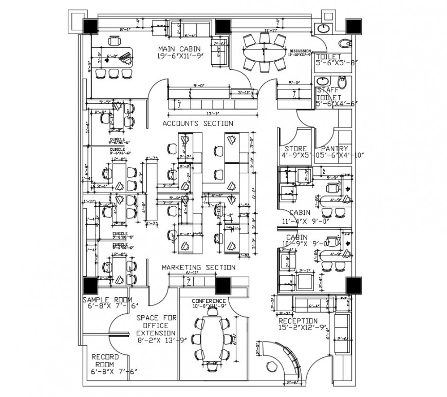Management office architecture layout plan with furniture cad drawing details dwg file