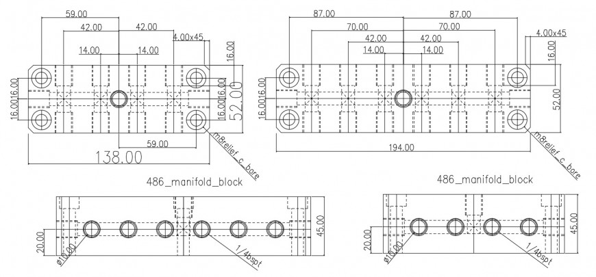 manifold block plan and electrical installation details dwg file