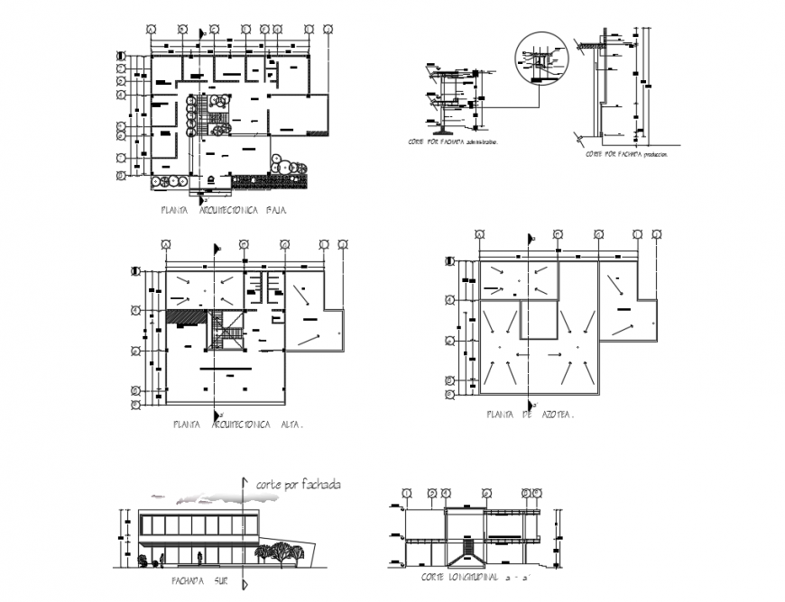 Manufacturing industrial plant elevation, longitudinal section and floor plan details dwg file