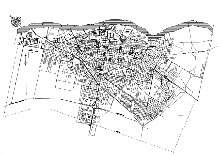 Map design with detail of architectural work dwg file